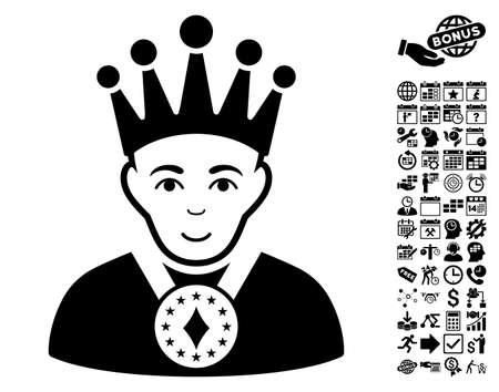 czar: King icon with bonus business, time management and calendar design elements. Vector illustration style is flat iconic symbols, black color, white background. Illustration