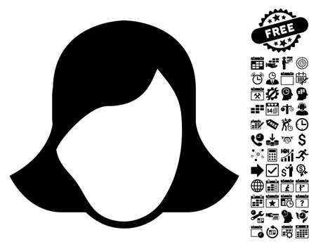 somebody: Lady Face Template icon with bonus business, time management and calendar pictograph collection. Vector illustration style is flat iconic symbols, black color, white background.