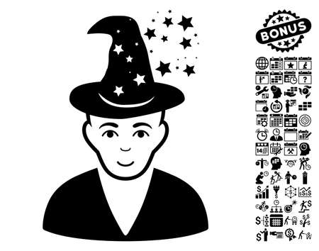 magus: Magic Master pictograph with bonus business, time management and calendar clip art. Vector illustration style is flat iconic symbols, black color, white background.