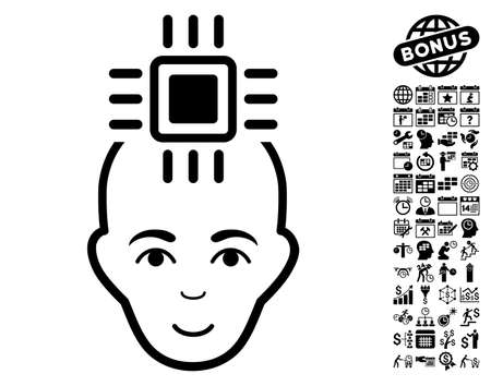 Neural Computer Interface pictograph with bonus business, time management and calendar pictures. Vector illustration style is flat iconic symbols, black color, white background.