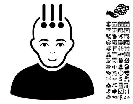cranial: Neural Interface icon with bonus business, time management and calendar pictograph collection. Vector illustration style is flat iconic symbols, black color, white background.