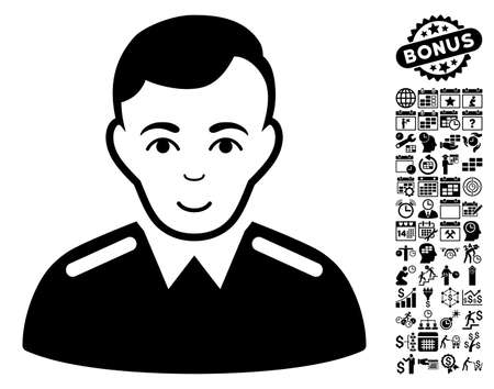 sergeant: Officer icon with bonus business, time management and calendar clip art. Vector illustration style is flat iconic symbols, black color, white background.