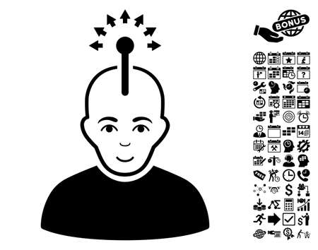 Optical Neural Interface pictograph with bonus business, time management and calendar icon set. Vector illustration style is flat iconic symbols, black color, white background.