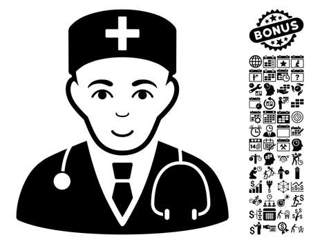 auscultation: Physician icon with bonus business, time management and calendar clip art. Vector illustration style is flat iconic symbols, black color, white background. Illustration