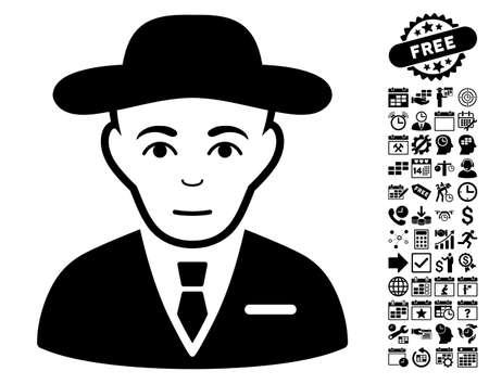the fbi: Secret Service Agent pictograph with bonus business, time management and calendar icon set. Vector illustration style is flat iconic symbols, black color, white background. Illustration
