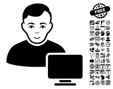 administrador de empresas: Computer Administrator icon with bonus business, time management and calendar graphic icons. Vector illustration style is flat iconic symbols, black color, white background. Vectores