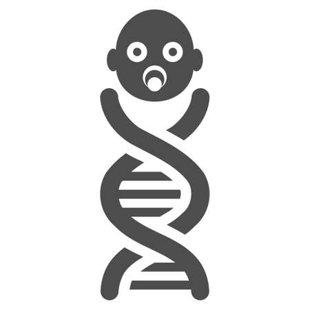 genes: Baby Genes vector icon. Flat gray symbol. Pictogram is isolated on a white background. Designed for web and software interfaces. Illustration