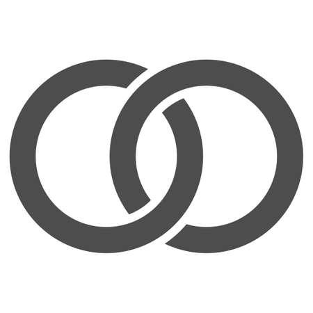 Icona di vettore di fedi nuziali. Simbolo grigio piatto Il pittogramma è isolato su uno sfondo bianco. Progettato per interfacce web e software.