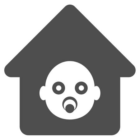 kinder garden: Nursery House vector icon. Flat gray symbol. Pictogram is isolated on a white background. Designed for web and software interfaces.