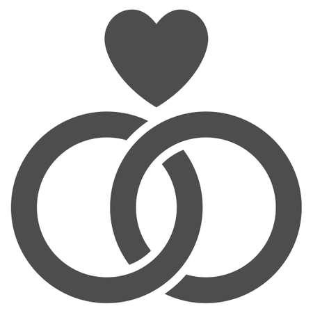 Anelli di nozze con icona di vettore del cuore. Simbolo grigio piatto Il pittogramma è isolato su uno sfondo bianco. Progettato per interfacce web e software.