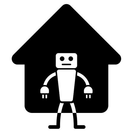robo: Home Robot glyph icon. Flat black symbol. Pictogram is isolated on a white background. Designed for web and software interfaces. Stock Photo