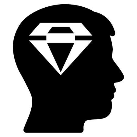 Human Head With Diamond glyph icon. Flat black symbol. Pictogram is isolated on a white background. Designed for web and software interfaces.