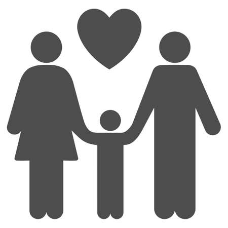 relatives: Family Love vector icon. Flat gray symbol. Pictogram is isolated on a white background. Designed for web and software interfaces.
