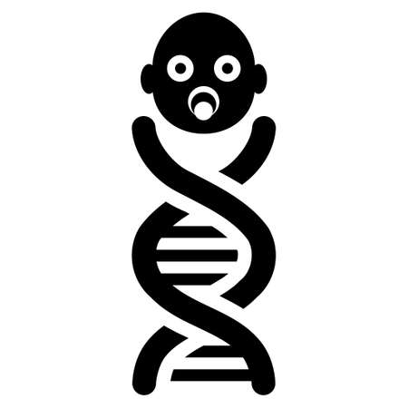 genes: Baby Genes glyph icon. Flat black symbol. Pictogram is isolated on a white background. Designed for web and software interfaces.