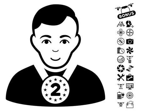 2nd: 2nd Prizer Sportsman icon with bonus flying drone tools design elements. Vector illustration style is flat iconic black symbols on white background. Illustration