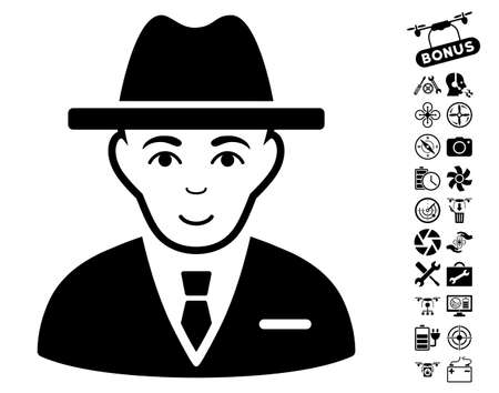 configure: Agent icon with bonus flying drone tools graphic icons. Vector illustration style is flat iconic black symbols on white background.