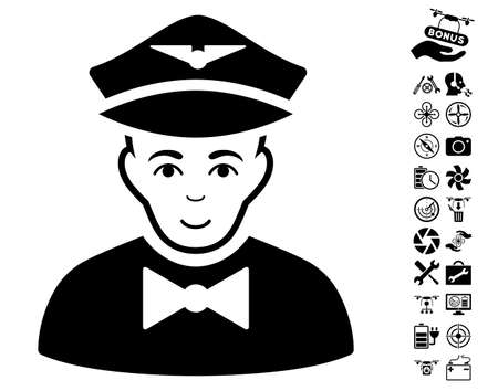 Airline Steward icon with bonus drone service symbols. Vector illustration style is flat iconic black symbols on white background. Illustration
