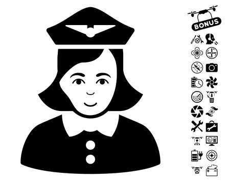 Airline Stewardess icon with bonus nanocopter tools design elements. Vector illustration style is flat iconic black symbols on white background.