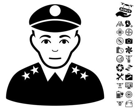 Army General icon with bonus quadrocopter service pictures. Vector illustration style is flat iconic black symbols on white background.