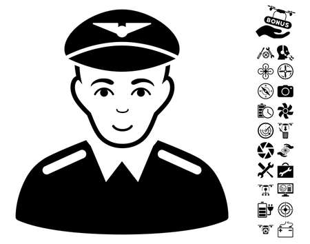 setup man: Aviator pictograph with bonus drone tools graphic icons. Vector illustration style is flat iconic black symbols on white background. Illustration