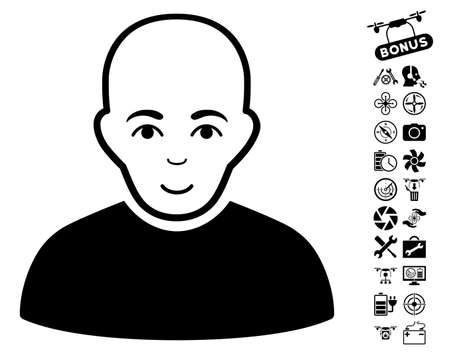 setup man: Bald Man pictograph with bonus quad copter tools images. Vector illustration style is flat iconic black symbols on white background. Illustration