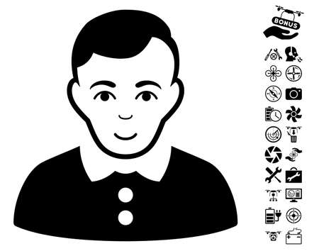 configure: Boy icon with bonus drone service pictograms. Vector illustration style is flat iconic black symbols on white background.