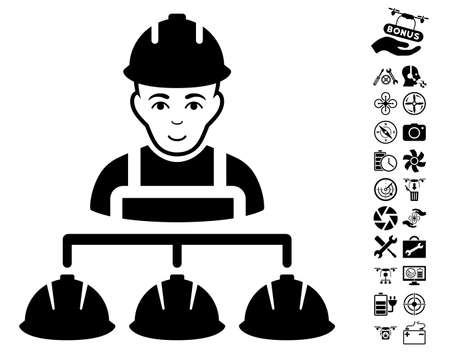 Builder Management pictograph with bonus airdrone service pictures. Vector illustration style is flat iconic black symbols on white background. Illustration