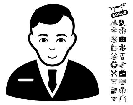 capitalist: Businessman pictograph with bonus airdrone tools pictograph collection. Vector illustration style is flat iconic black symbols on white background. Illustration
