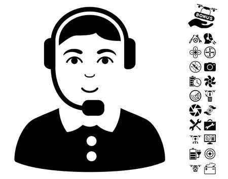 talker: Call Center Operator pictograph with bonus nanocopter tools images. Vector illustration style is flat iconic black symbols on white background. Illustration