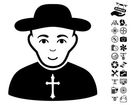 Christian Priest icon with bonus drone service graphic icons. Vector illustration style is flat iconic black symbols on white background.