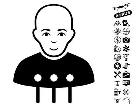 Cyborg Interface icon with bonus quadrocopter service symbols. Vector illustration style is flat iconic black symbols on white background.