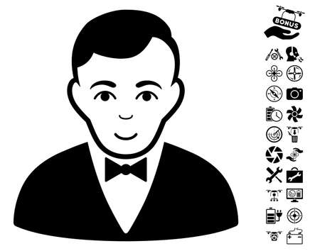 Dealer pictograph with bonus nanocopter service pictograms. Vector illustration style is flat iconic black symbols on white background.