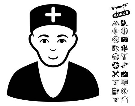 setup man: Doctor pictograph with bonus copter service pictograms. Vector illustration style is flat iconic black symbols on white background.