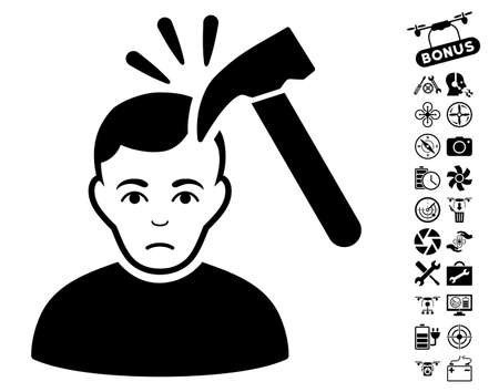 configure: Murder With Hammer pictograph with bonus nanocopter service pictures. Vector illustration style is flat iconic black symbols on white background. Illustration