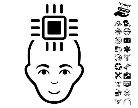 Neural Computer Interface pictograph with bonus airdrone service images. Vector illustration style is flat iconic black symbols on white background.