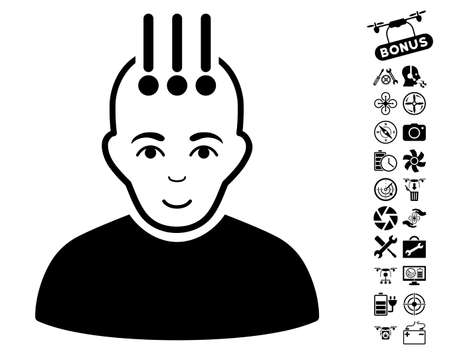 cranial: Neural Interface pictograph with bonus uav tools graphic icons. Vector illustration style is flat iconic black symbols on white background.