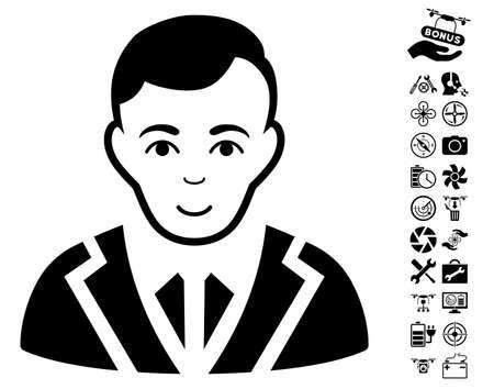 Noble icon with bonus airdrone tools icon set. Vector illustration style is flat iconic black symbols on white background.