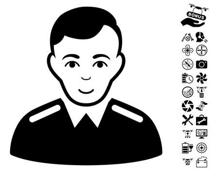 Officer icon with bonus quadrocopter service icon set. Vector illustration style is flat iconic black symbols on white background.