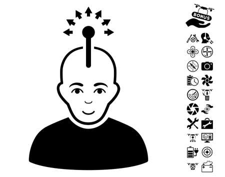 Optical Neural Interface pictograph with bonus airdrone tools pictures. Vector illustration style is flat iconic black symbols on white background. Illustration