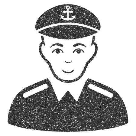 Captain grainy textured icon for overlay watermark stamps. Flat symbol with dust texture. Dotted glyph gray ink rubber seal stamp with grunge design on a white background.