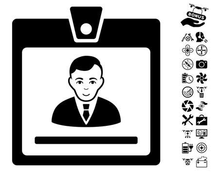 setup man: Manager Badge pictograph with bonus quad copter tools pictures. Vector illustration style is flat iconic black symbols on white background. Illustration