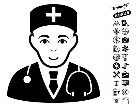 auscultation: Physician pictograph with bonus flying drone tools pictograph collection. Vector illustration style is flat iconic black symbols on white background.