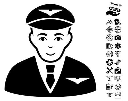Pilot pictograph with bonus copter service pictograph collection. Vector illustration style is flat iconic black symbols on white background.