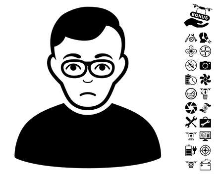 setup man: Downer pictograph with bonus quad copter tools graphic icons. Vector illustration style is flat iconic black symbols on white background.