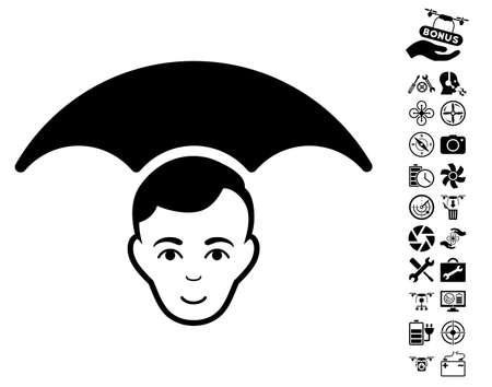 Head Umbrella icon with bonus flying drone service clip art. Vector illustration style is flat iconic black symbols on white background.
