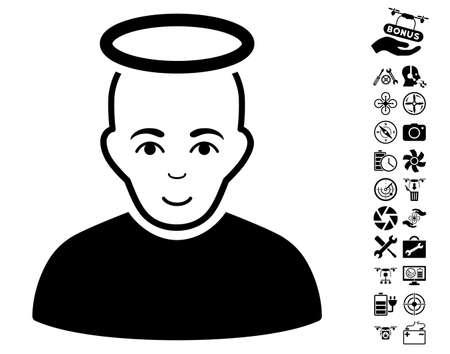 Holy Man icon with bonus nanocopter service symbols. Vector illustration style is flat iconic black symbols on white background.
