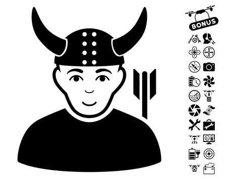 horned: Horned Warrior icon with bonus aircopter service icon set. Vector illustration style is flat iconic black symbols on white background.