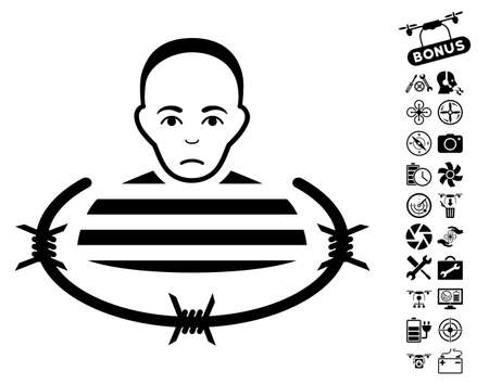 Isolated Prisoner icon with bonus aircopter service graphic icons. Vector illustration style is flat iconic black symbols on white background. Illustration