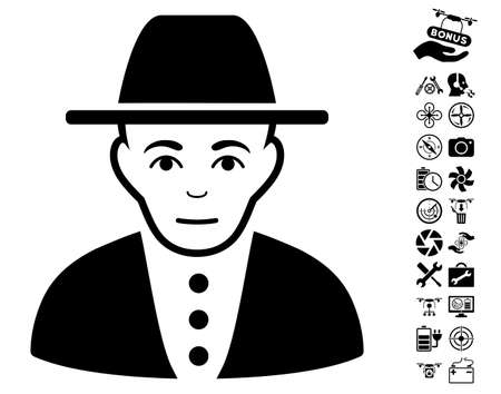 configure: Jew icon with bonus quadrocopter service design elements. Vector illustration style is flat iconic black symbols on white background.
