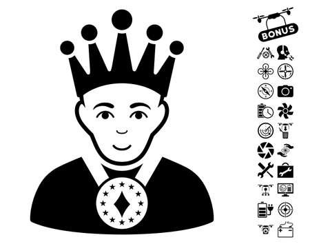 czar: King icon with bonus drone service pictograms. Vector illustration style is flat iconic black symbols on white background.